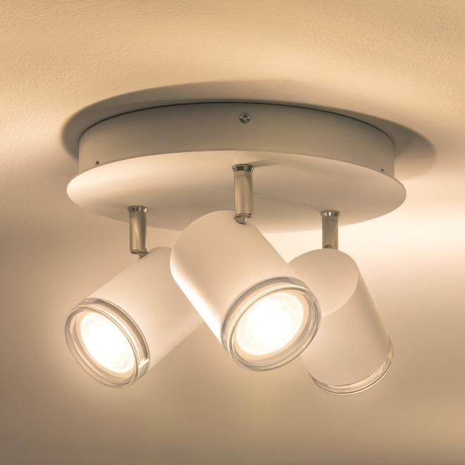 Philips Hue Adore LED Ceiling Light white, three-flame round