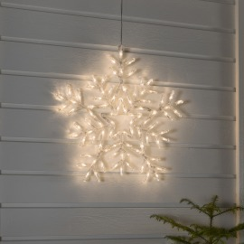 Konstsmide LED Acrylic Snowflake warm white, 90 LEDs, with 8 Functions