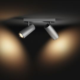 Philips Hue White Ambiance LED-Spot Buratto, 2-flammig, silber, 500lm, mit Dimmschalter