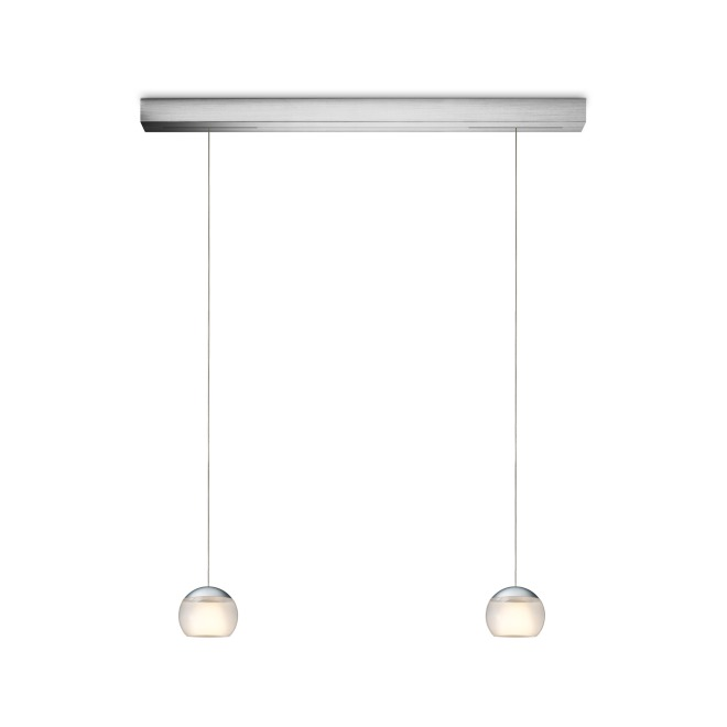 OLIGO LED pendant luminaire BALINO 2-lamp brushed aluminium-white
