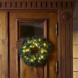 LED spruce wreath, green, 40 warmwhite LEDs