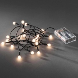 Konstsmide LED Light Chain, warm white, 1.5m, 20 round LEDs, battery-operated