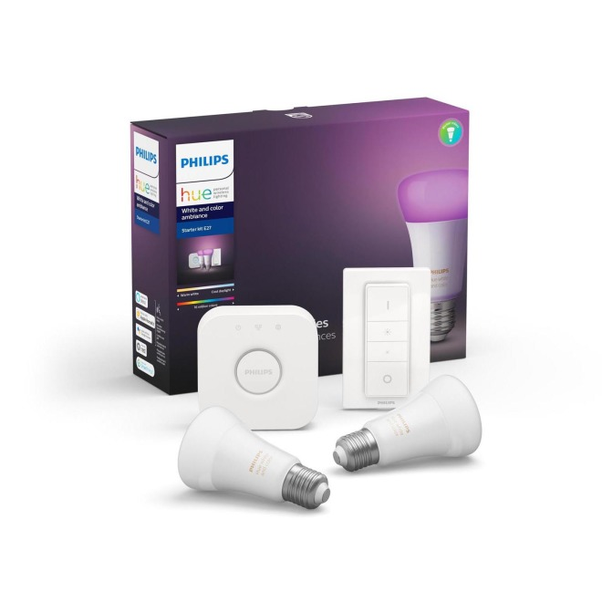 philips hue white color ambiance led e27 double starter kit with dimming switch led lamps