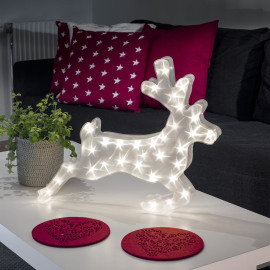 Konstsmide LED plastic reindeer, with star effect, 32 warmwhite LEDs