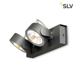 SLV Kalu 60° LED wall light 2-flames black