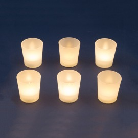LED Tea Lights in Glass Shape, Set of 6, warm white, Flame Effect
