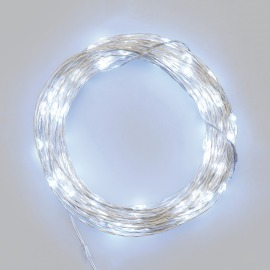 LED Micro Light Chain 100 cold white LEDs, Remote Control, 15 Functions, Battery Operated