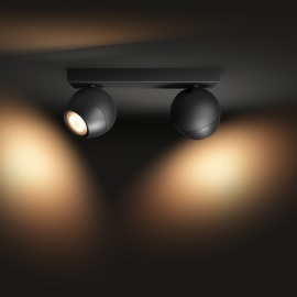Philips Hue White Ambiance Buckram LED Spotlight double-flamed black, 2x 350lm, Dimmer Switch