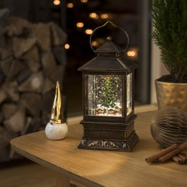Konstsmide LED Snow Lantern Christmas Fair, warm white, 5h Timer, Battery Operated