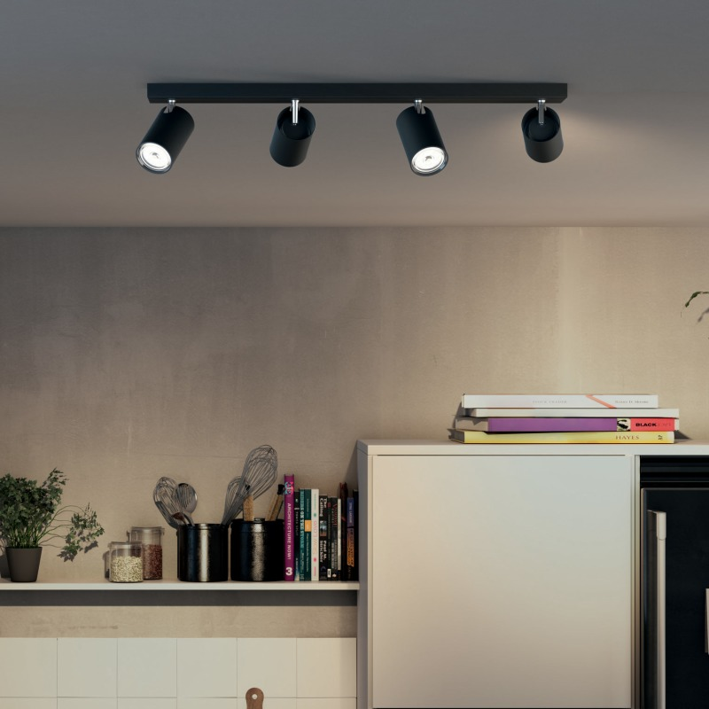 Philips myLiving Spotlight Kosipo 4-flame, black - Ceiling ... on Myliving Outdoors id=79965