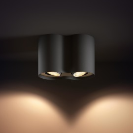 Philips hue Pillar LED 2-er Spot schwarz