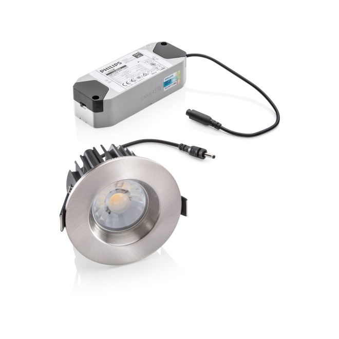 Lumego Kastra LED Downlight, silver, 3000K, IP65, Set incl. Power Supply Unit and Replaceable Ceiling Ring