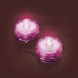 Lotti LED tea light Set of 2, waterproof, pink