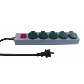 REV Outdoor Multiple Socket Outlet, 5-fold, 1.5m, green-grey, IP44