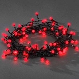 Konstsmide LED Light Chain, red, 6.3m, 80 round LEDs