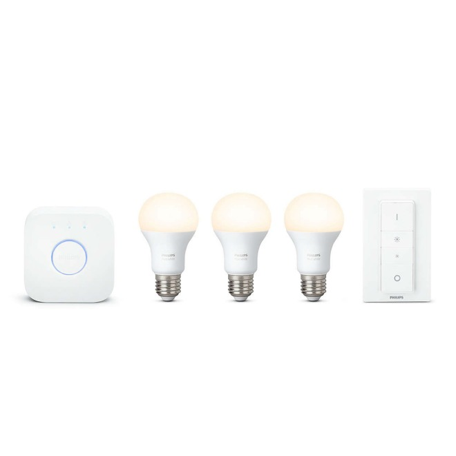 Philips Hue White LED E27 3er Starter Set 9,5W mit Dimmschalter