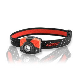 Coast FL75R LED headlamp with red light, battery or rechargeable battery powered
