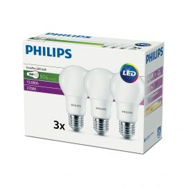 Philips CorePro LEDbulb 8-60W A60 E27 827 Multipack of 3