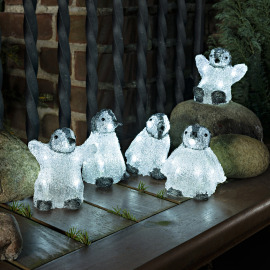 Konstsmide LED Acrylic Baby Penguins cold white, Set of 5, 40 LEDs