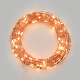 LED Micro Light Chain 200 warm white LEDs, Remote Control, 15 Functions, Battery Operated