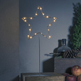 Konstsmide LED Metal Star with Metal Base, amber, 20 LEDs, 6h Timer, Battery Operated