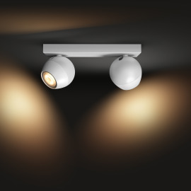 Philips Hue White Ambiance Buckram LED Spotlight double-flamed white, 2x 350lm, Dimmer Switch