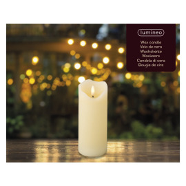 Lumineo LED Real Wax Candle 3D Flame, warm white, 17cm, 6h timer, battery operated