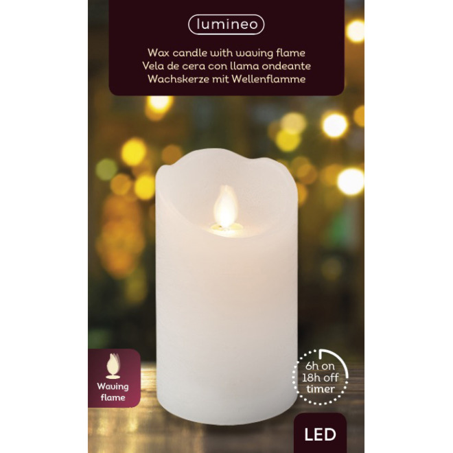 Lumineo LED Real Wax Candle Flickering Effect, warm white, 12.5cm, 6h Timer, Battery Operated