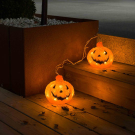 Konstsmide LED acrylic pumpkin, Set of 2, with 6h Timer