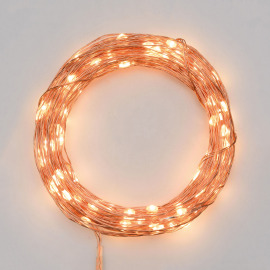 Lotti LED Micro Light Chain 100 warm white LEDs, Remote Control, 15 Functions, Battery Operated