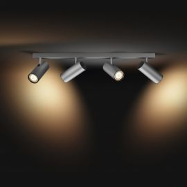 Philips Hue White Ambiance LED-Spot Buratto, 4-flammig, silber, 1000lm, mit Dimmschalter