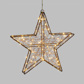 Lotti LED 3D Star, 80 warm white LEDs, Copper-coloured Metal Frame