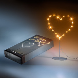 Mother's Day Edition LED Metal Heart with Metal Base, amber, 20 LEDs, 6h Timer, Battery Operated