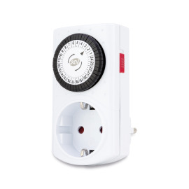 Mechanical timer, white, 48 switching times per day