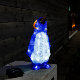 Acrylic LED penguin, 24 coldwhite LEDs, battery-powered