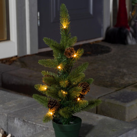 LED Christmas tree with pine cones, 10 warmwhite LEDs