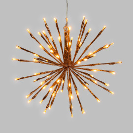 Lotti LED Light Ball, 80 amber LEDs, Copper Branches