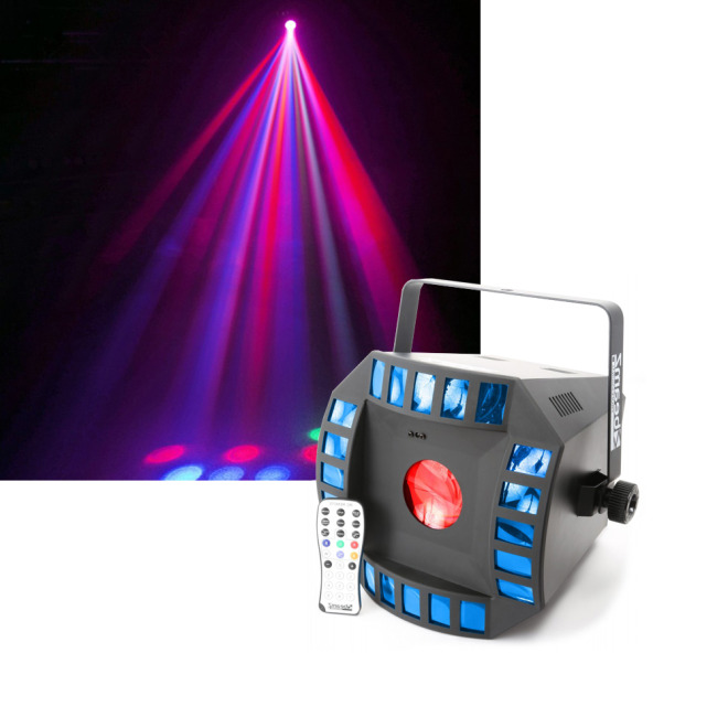 BeamZ LED Cub4 II 2x10W Quad 64RGB DMXIR Derby + Moonflower