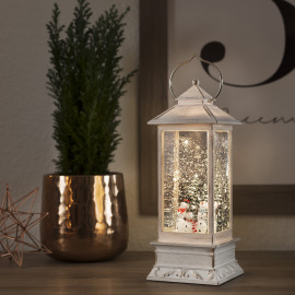 LED Snow Lantern Snowmen, warm white, 5h Timer, Battery Operated
