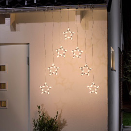 Konstsmide LED light curtain with 7 star silhouttes
