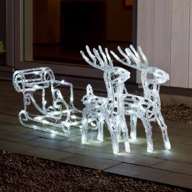 Konstsmide Acrylic LED set sleigh with reindeer, 96 cold white LEDs