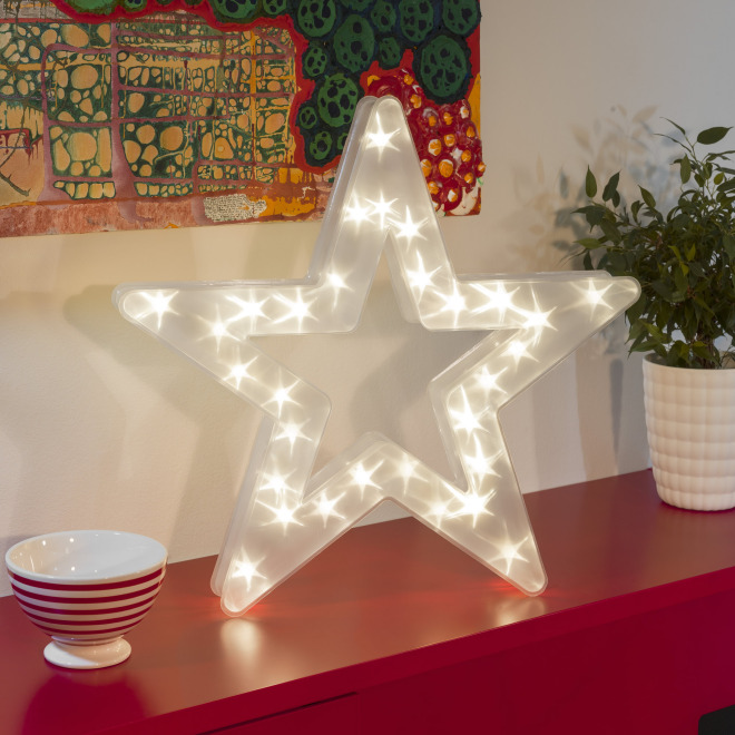 Konstsmide LED plastic star, with star effect, 30 warmwhite LEDs