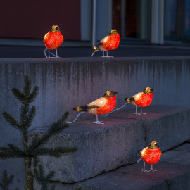 Konstsmide LED Acrylic Robins cold white, Set of 5, 40 LEDs