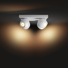 Philips Hue White Ambiance Buckram LED Spotlight four-flamed white, 4x 350lm, Dimmer Switch