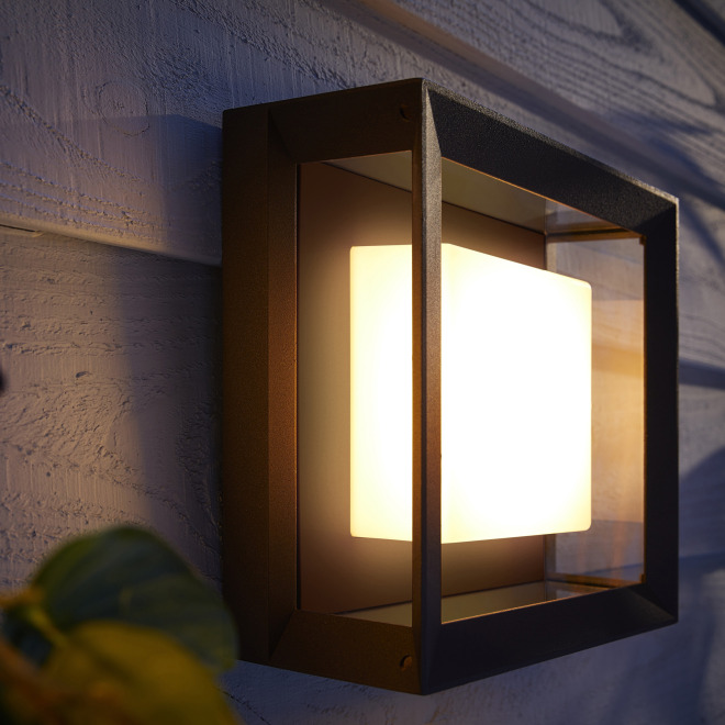 Philips Hue White and Color Ambiance Econic LED-Wandleuchte quadratisch, schwarz