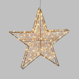 Lotti LED 3D Star, 180 warm white LEDs, Copper-coloured Metal Frame