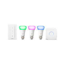 Philips Hue LED E27 set of 3 starter set RGBW 10W with dimmer switch image