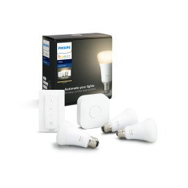 Philips Hue White LED E27 Triple Starter Set With Dimming Switch