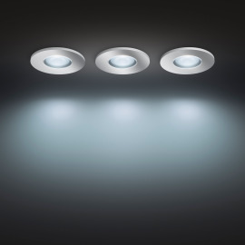 Philips Hue White Ambiance Adore LED Recessed Luminaire Pack of 3 round, 3 x 350lm, silver, IP44
