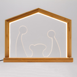 Lotti LED Light Arch Nativity Scene angular, Wood, 3000K, 30cm, IP20